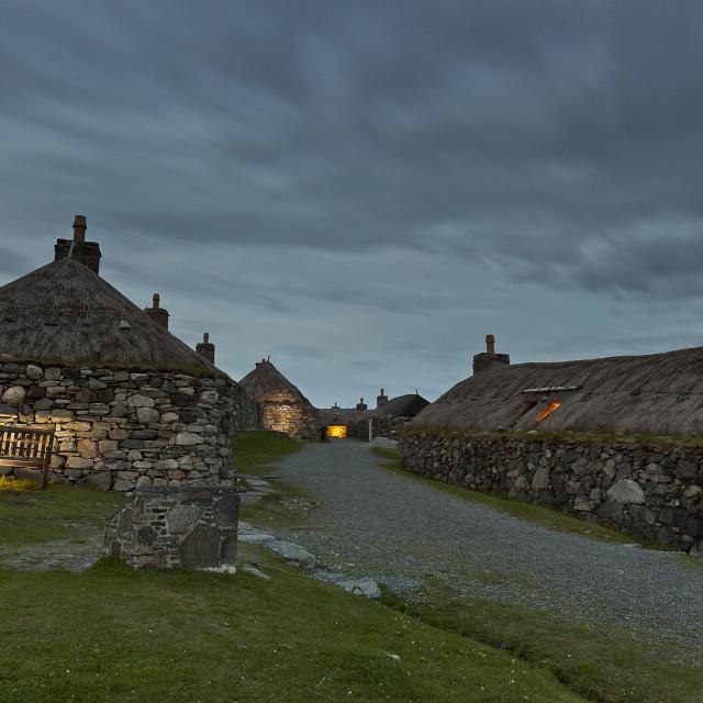"""The Blackhouse village at night"" stock image"