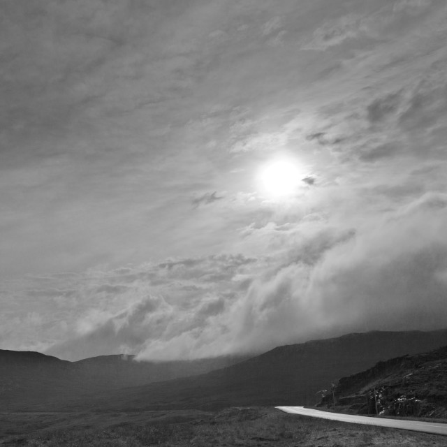 """Cloudy skies over Isle of Harris"" stock image"