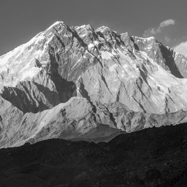 """""""Nuptse in black and white. View from Lobuche."""" stock image"""