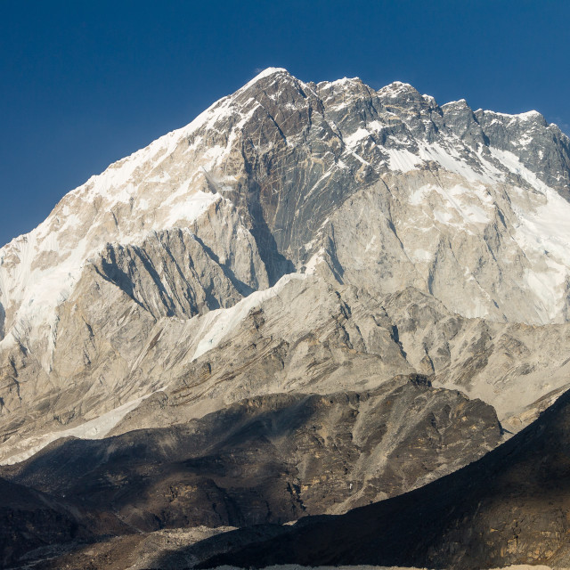 """""""Nuptse. A late afternoon view from Lobuche."""" stock image"""
