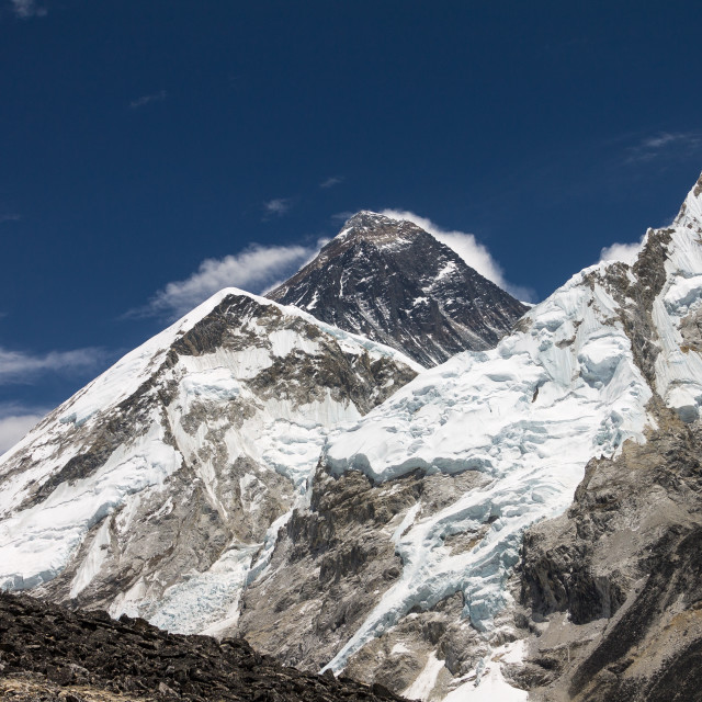"""""""Mount Everest and Nuptse seen from the way to the Kala Patthar's top"""" stock image"""