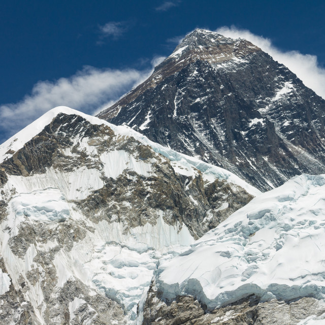 """""""Mount Everest seen from the way to the Kala Patthar's top"""" stock image"""