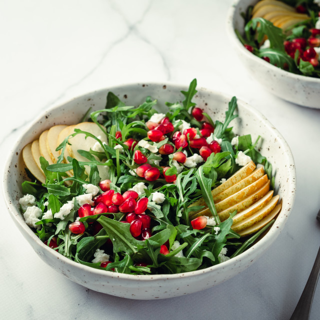 """""""salad with arugula, pear, pomegranate and cheese"""" stock image"""