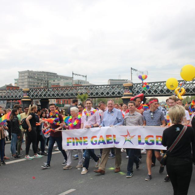 """""""Fine Gael politicians including Simon Harris at Dublin Pride 2019"""" stock image"""