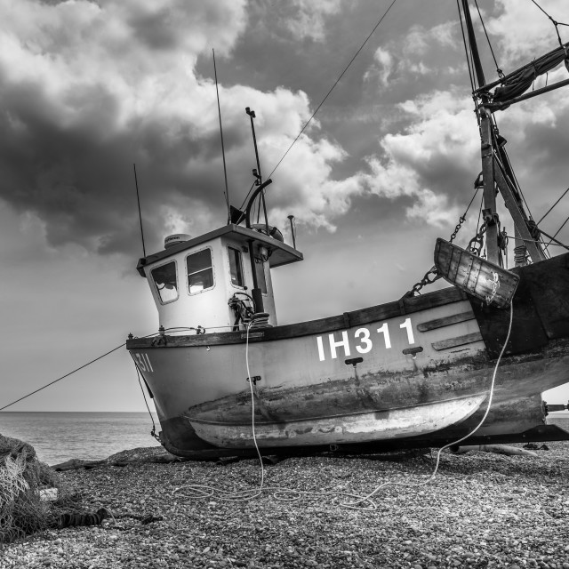 """""""Fishing Boat on the Beach"""" stock image"""