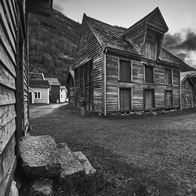 """""""Old Town Lærdal"""" stock image"""
