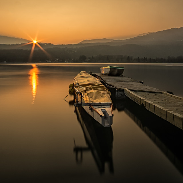 """""""Boat on the lake"""" stock image"""