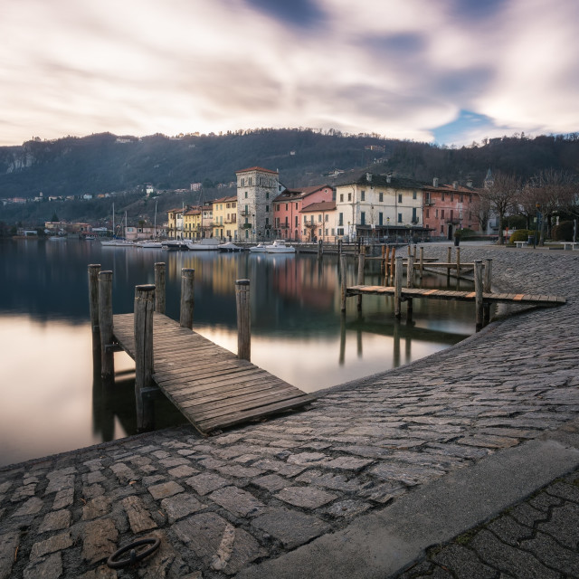 """Walking on the Lake Maggiore"" stock image"