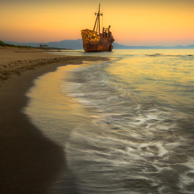 """Afterglow Greek Peloponnese"" stock image"
