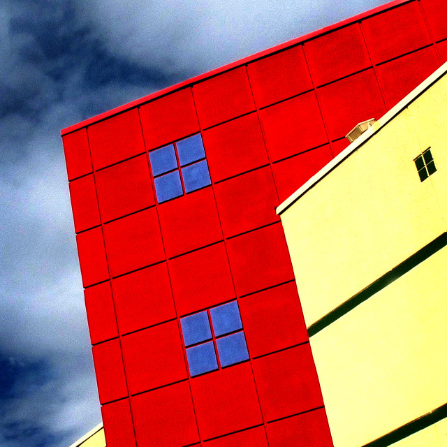 """""""Red Yellow Blue White Buildings"""" stock image"""
