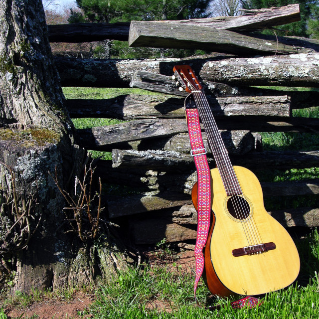 """""""Guitar Resting on Fence"""" stock image"""