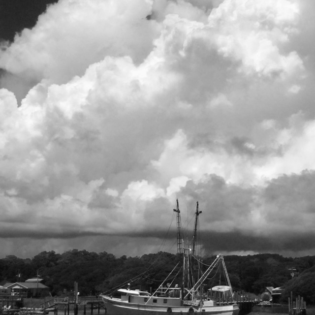"""""""Shrimp Boat and Thunderclouds"""" stock image"""