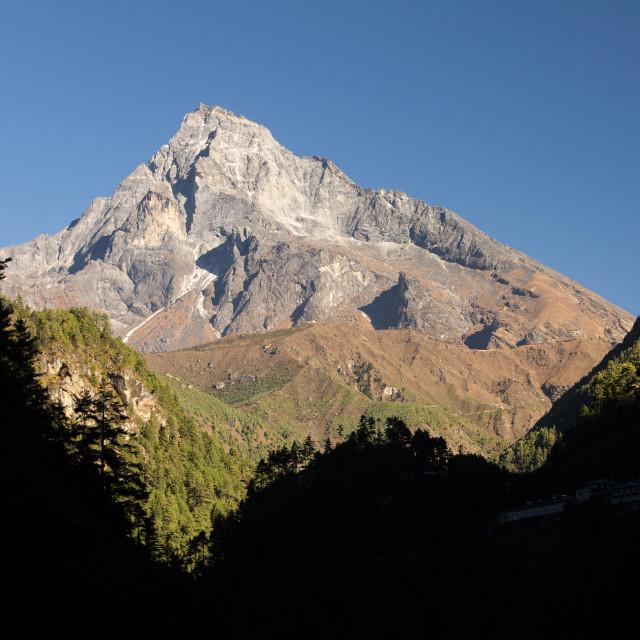 """Khumbu Yul Lha the sacred mountain of the Sherpa people"" stock image"