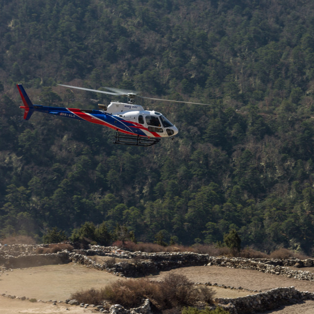 """""""Helicopter just after take off at Pangboche village"""" stock image"""
