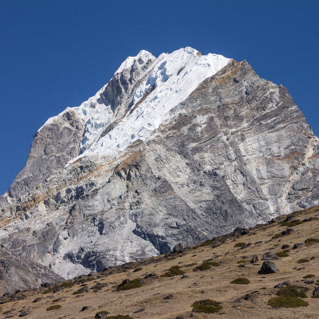 """""""Lobuche Peak seen from the trail from Dingboche"""" stock image"""