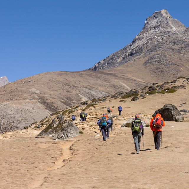 """Trekkers heading towards Everest Base Camp on the trail above Dingboche"" stock image"