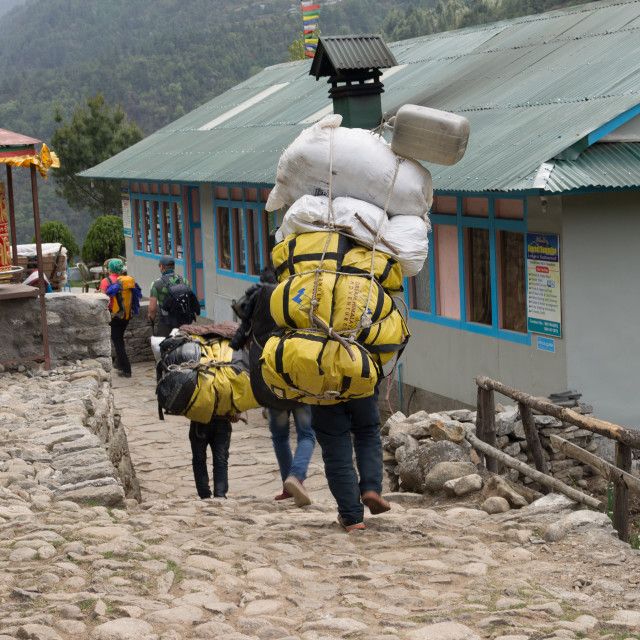 """""""Porter carrying a heavy loads on the Everest Base Camp trekking route"""" stock image"""