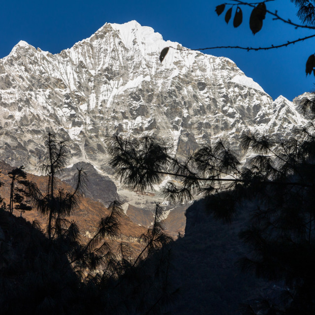 """""""Thamserku, the South-west face"""" stock image"""