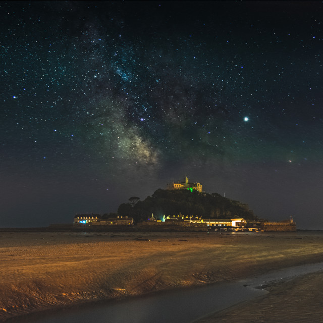 """""""Milky-Way over St Michaels Mount from the beach"""" stock image"""