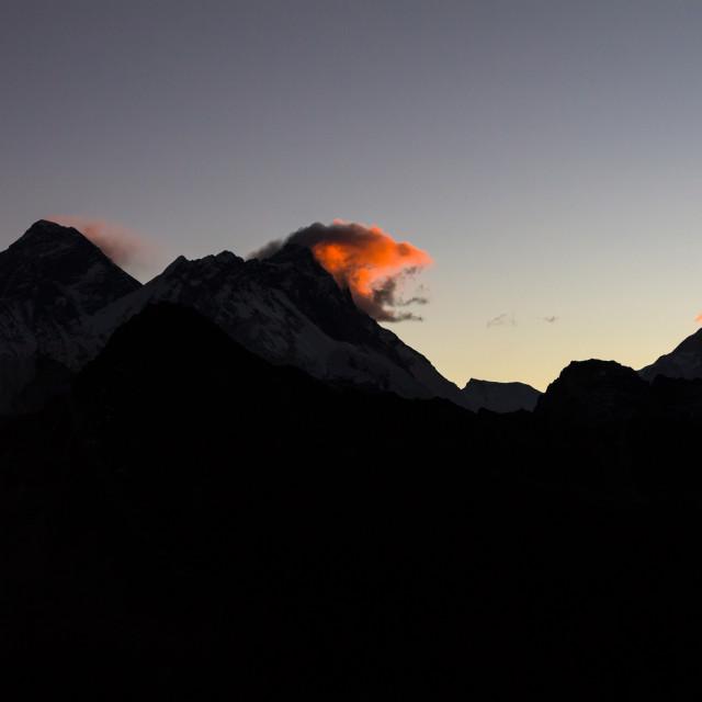 """""""Daybreak at Gokyo Ri: Everest, Nuptse, Lhotse, Makalu"""" stock image"""