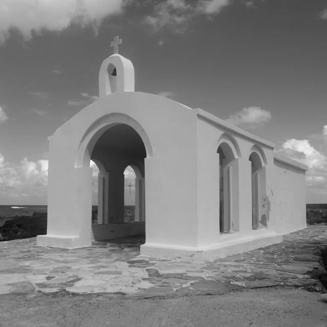 """The chapel of St. Nicholas in Georgioupolis"" stock image"