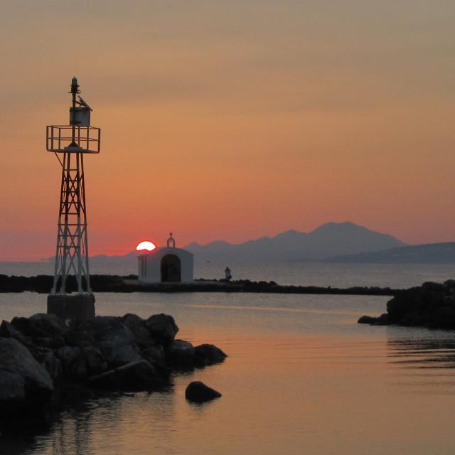 """Sunrise at Agios Nikolaos Church"" stock image"