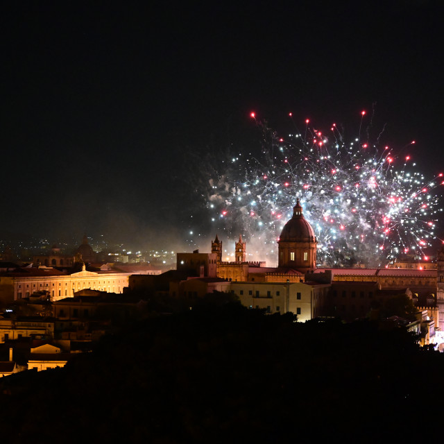 """Cathedral of Palermo illuminated by fireworks"" stock image"