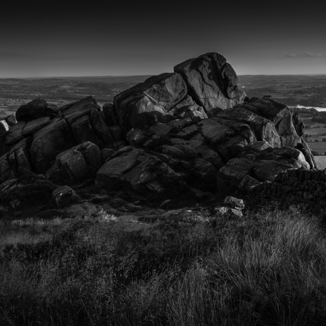 """Gritstone rock formation on The Roaches"" stock image"