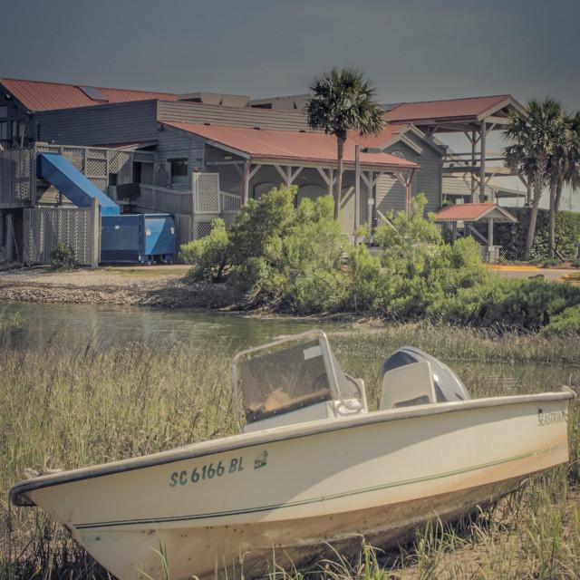 """Hilton Head abandoned boat"" stock image"