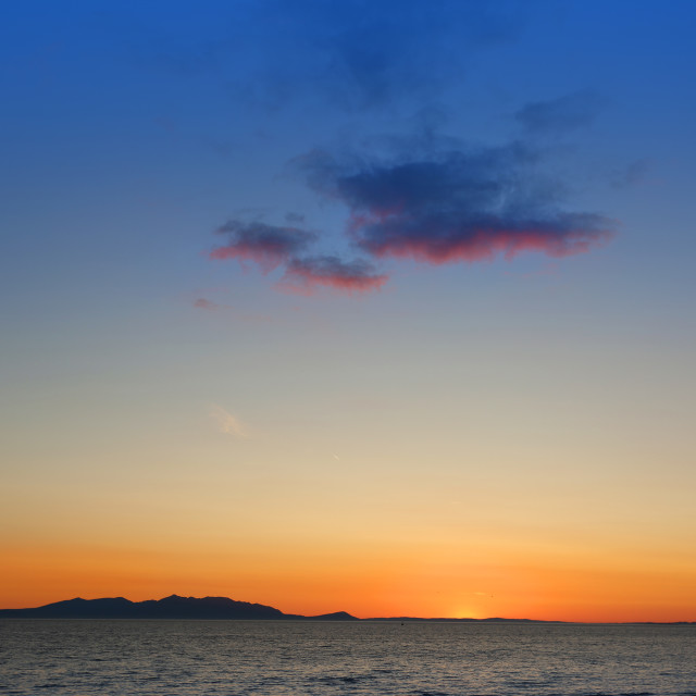 """Sunset over The Isle Of Arran"" stock image"