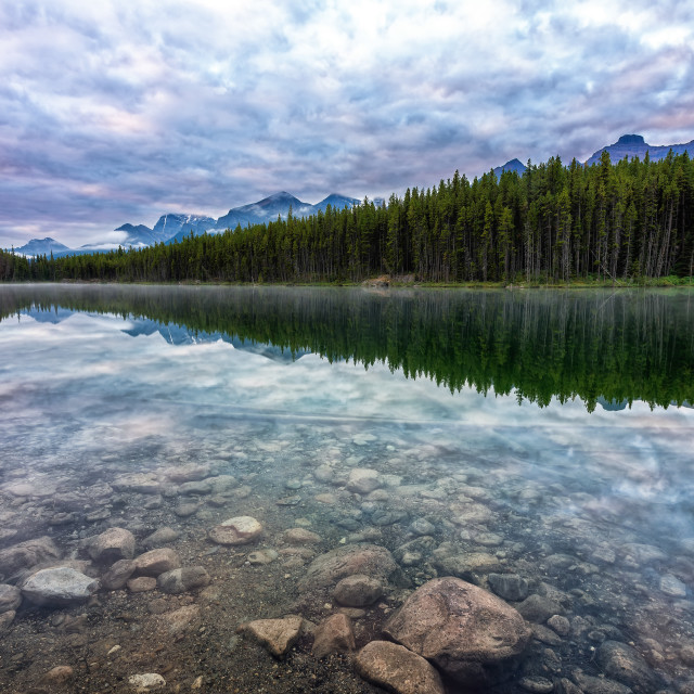 """Early Morning at Herbert Lake"" stock image"