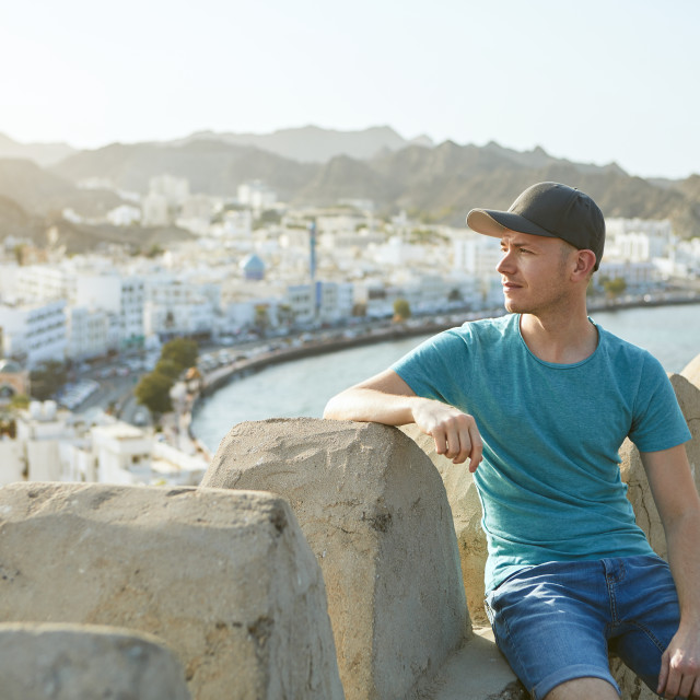 """Traveler in Muscat"" stock image"