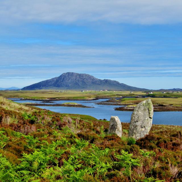 """Lochmaddy Standing Stones"" stock image"