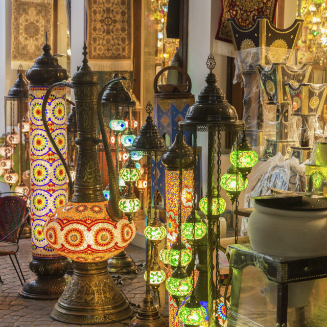 """Lanterns at market in Manama, Bahrain"" stock image"