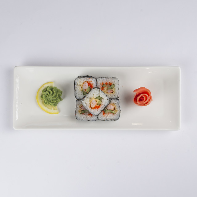 """Plate of sushi with pickled ginger and wasabi"" stock image"