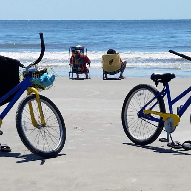 """""""Beach Time Bicycles"""" stock image"""
