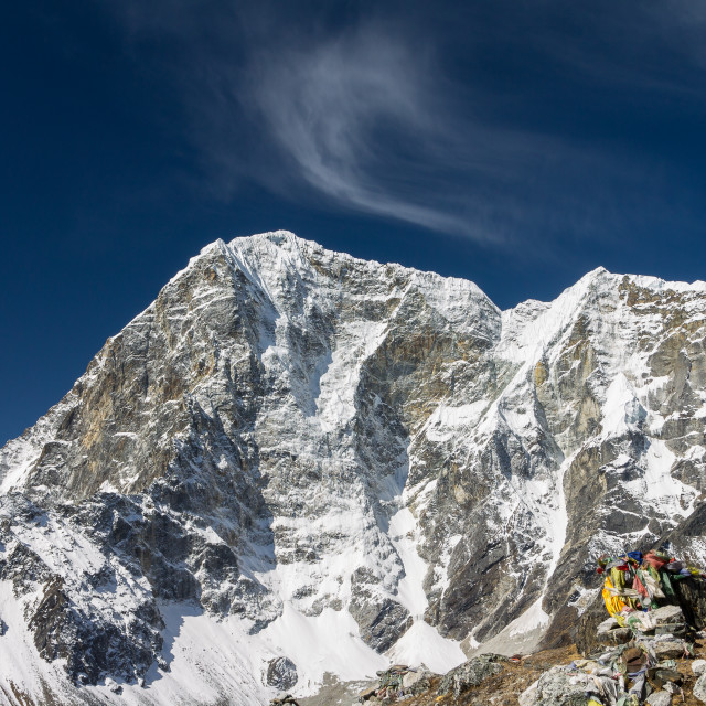 """Taboche Peak seen from Thokla Pass"" stock image"