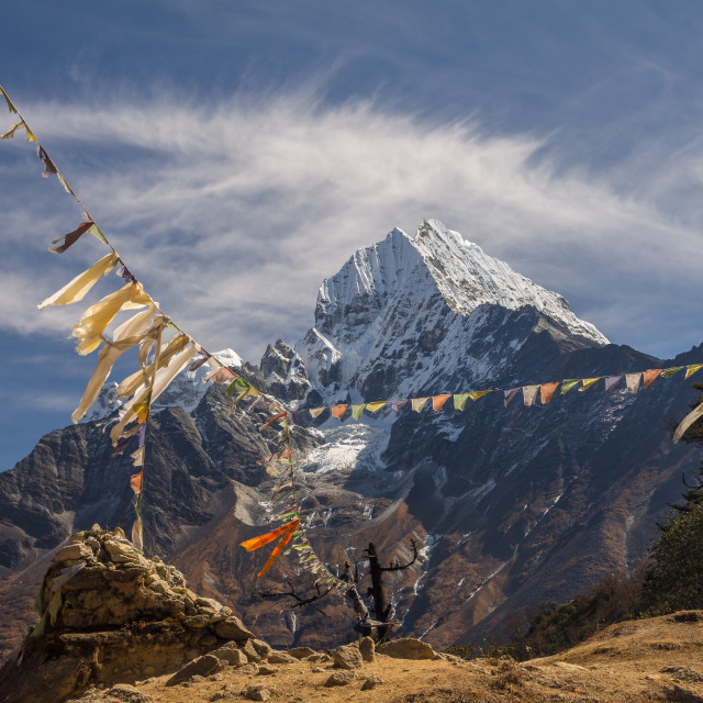 """""""Thamserku seen from the way between Namche and Khumjung"""" stock image"""
