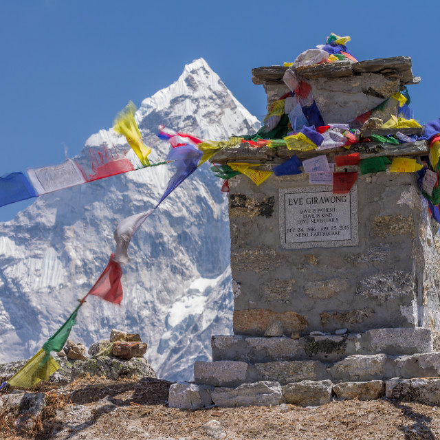 """""""Chorten at Thokla Pass commemorating victim of the massive avalanche in the EBC caused by the 2015 earthquake"""" stock image"""