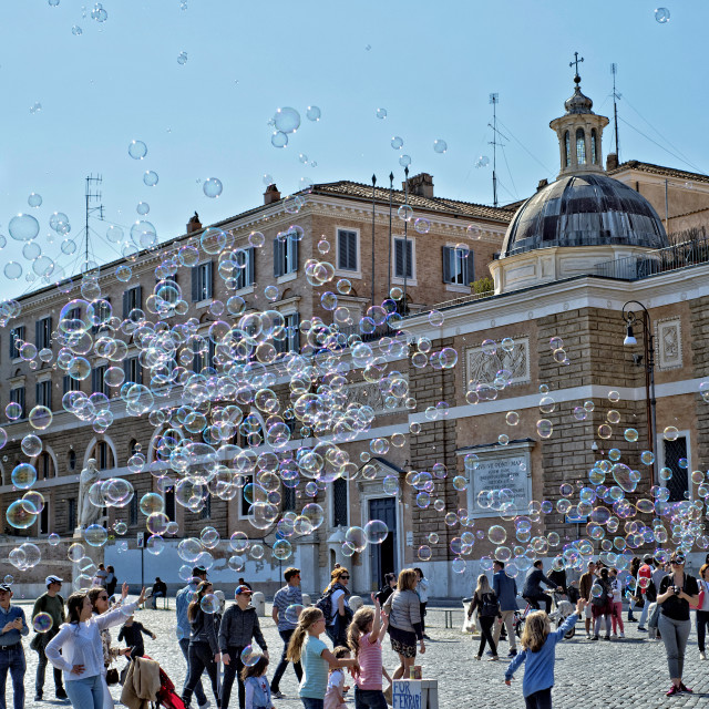 """Bubbles in Piazza de Popolo, Rome"" stock image"