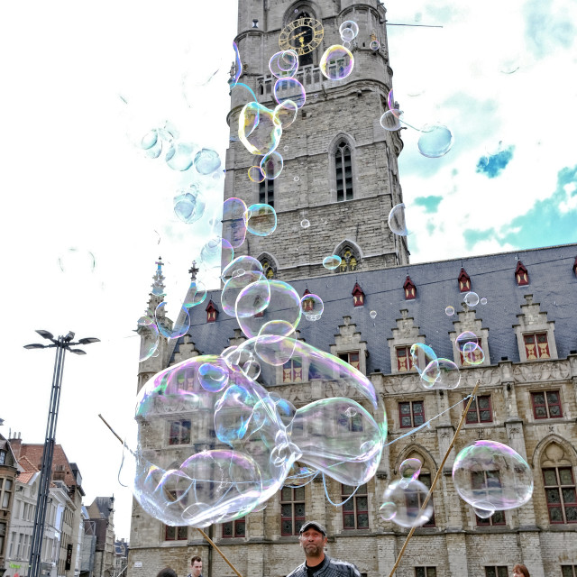 """Bubble blower in front of the Stadhuis in Gent"" stock image"