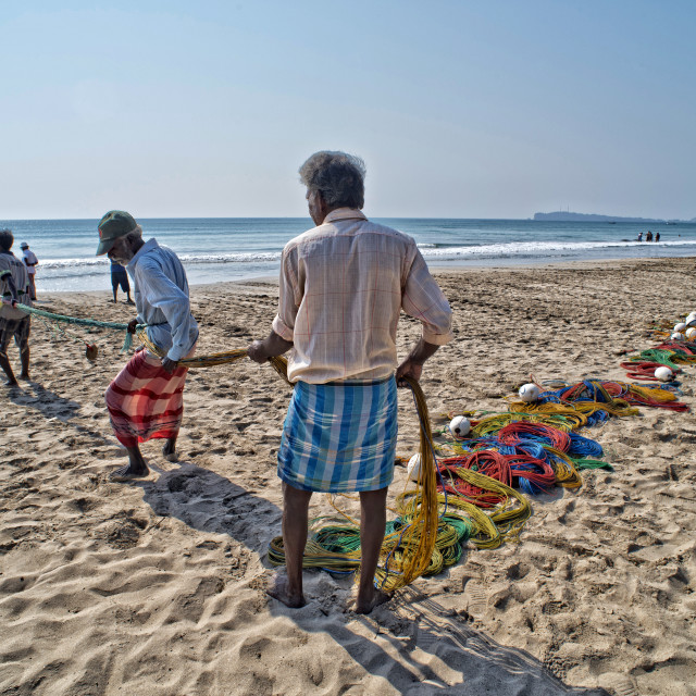 """Fishermen pulling in their nets on Uppuveli beach, Sri Lanka"" stock image"