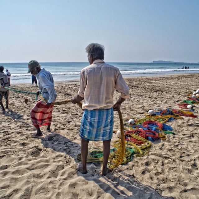 """""""Fishermen pulling in their nets on Uppuveli beach, Sri Lanka"""" stock image"""