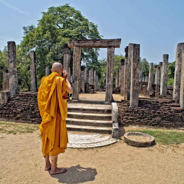 """Buddhist monk tourist in Sri Lanka"" stock image"