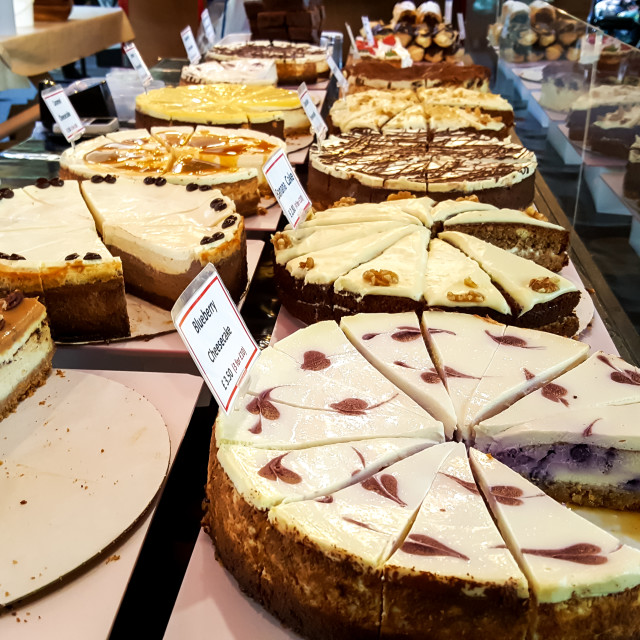 """""""A market stall selling cheese cakes"""" stock image"""