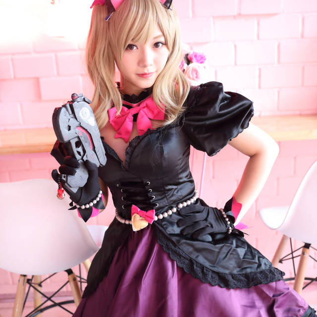 """""""Japan anime cosplay , portrait of girl cosplay in pink room background"""" stock image"""