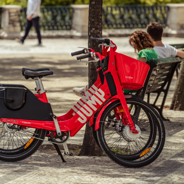 """Two Uber-Jump electric bicycle Lisbon"" stock image"