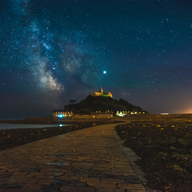 """The Milky Way over St Michaels Mount from the Causeway"" stock image"