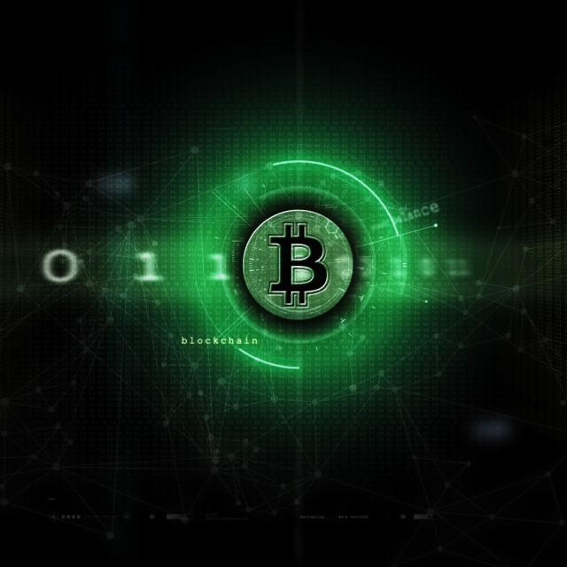 """Bitcoin & blockchain artwork green"" stock image"