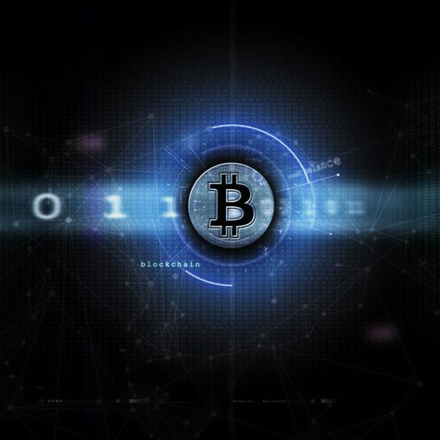 """Bitcoin & blockchain artwork blue"" stock image"